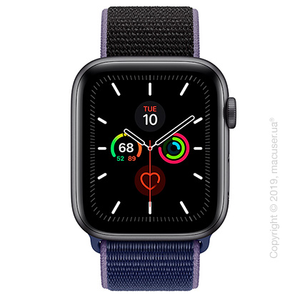 Apple Watch Series 5 GPS, 44mm Space Gray Aluminum Case with Midnight Blue Sport Loop