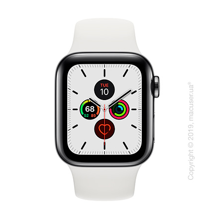 Apple Watch Series 5 GPS + Cellular, 40mm Space Black Stainless Steel Case with White Sport Band