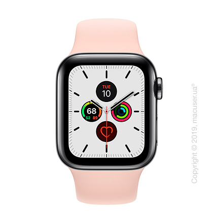 Apple Watch Series 5 GPS + Cellular, 40mm Space Black Stainless Steel Case with Pink Sand Sport Band
