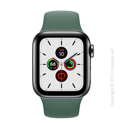 Apple Watch Series 5 GPS + Cellular, 40mm Space Black Stainless Steel Case with Pine Green Sport Band