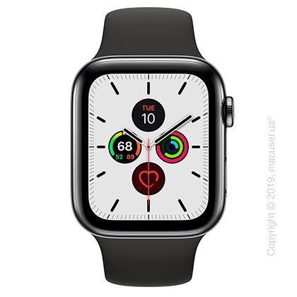 Apple Watch Series 5 GPS + Cellular, 44mm Space Black Stainless Steel Case with Black Sport Band