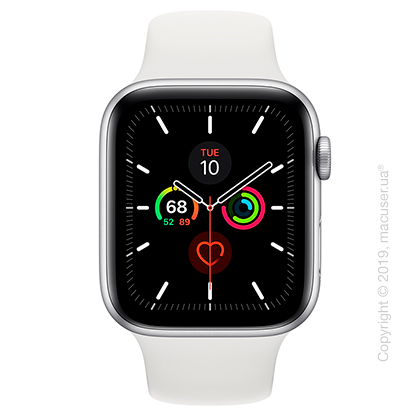 Apple Watch Series 5 GPS 44mm Silver Aluminum Case with White Sport Band