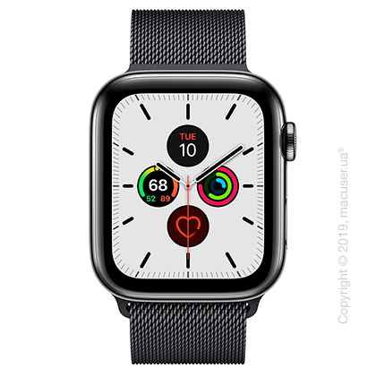 Apple Watch Series 5 GPS + Cellular 44mm Space Black Stainless Steel Case with Space Black Milanese Loop