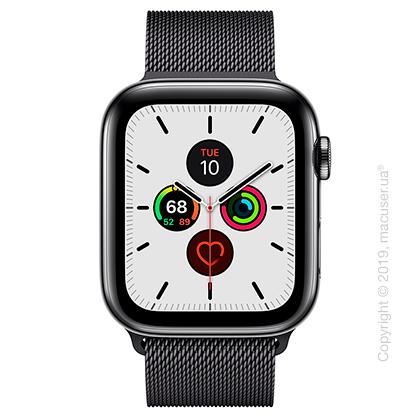 Apple Watch Series 5 GPS + Cellular 44mm Space Black Stainless Steel Case with Space Black Milanese Loop