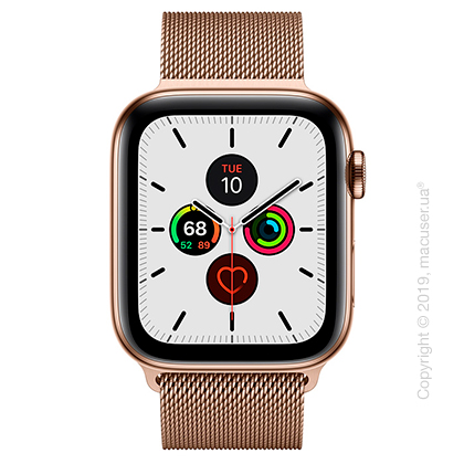 Apple Watch Series 5 GPS + Cellular 44mm Gold Stainless Steel Case with Gold Milanese Loop