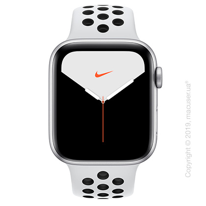 Apple Watch Nike Series 5 GPS + Cellular, 44mm Silver Aluminum Case with Pure Platinum/Black Nike Sport Band