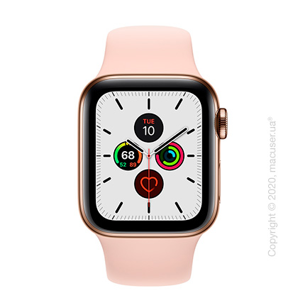 Apple Watch Series 5 GPS + Cellular, 40mm Gold Stainless Steel Case with Pink Sand Sport Band