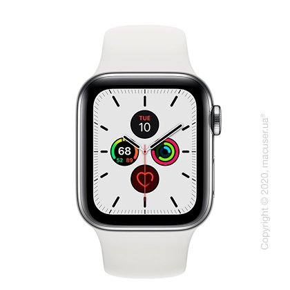 Apple Watch Series 5 GPS + Cellular, 40mm Stainless Steel Case with White Sport Band