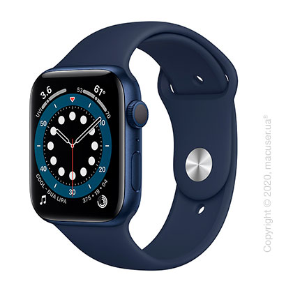 Apple Watch Series 6 GPS 44mm Blue Aluminum Case with Deep Navy Sport Band