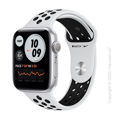 Apple Watch Series 6 GPS 44mm Silver Aluminum Case with Pure Platinum/Black Nike Sport Band