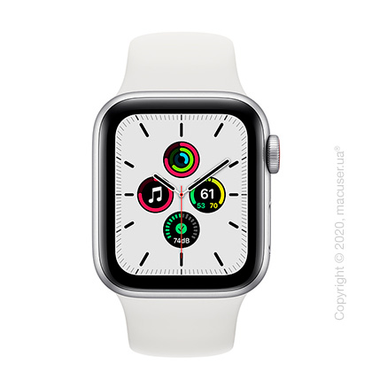 Apple Watch SE GPS + Cellular 40mm  Silver Aluminium Case with White Sport Band