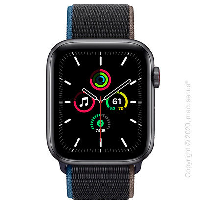 Apple Watch SE GPS + Cellular 44mm Space Gray Aluminum Case with Charcoal Sport Loop