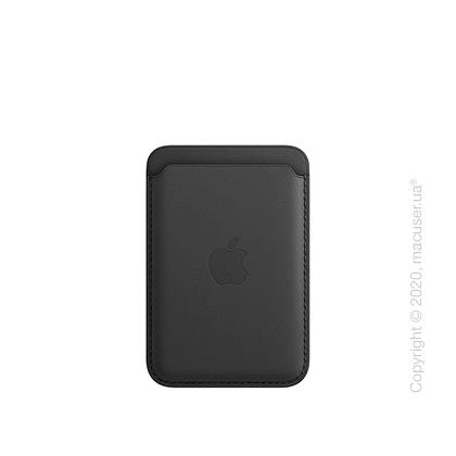 Кожаный чехол-бумажник MagSafe для iPhone, чёрный цвет