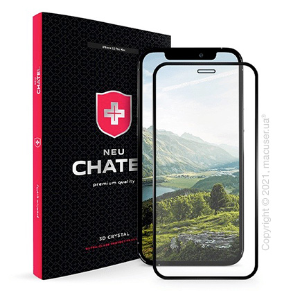 Скло +NEU Chatel Full 2.5D Silk Narrow Border Crystal for iPhone 12 Pro Max Front Black