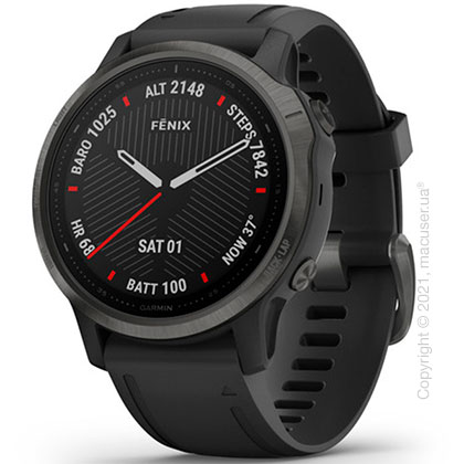 Спортивные часы Garmin Fenix 6S Carbon Gray DLC with Black Band
