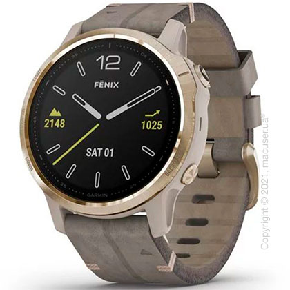 Спортивные часы Garmin Fenix 6S Light Gold-tone with Shale Gray Leather Band