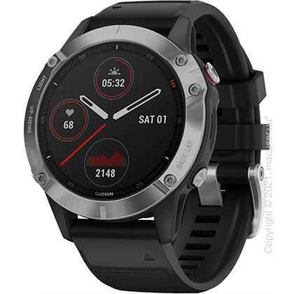 Спортивные часы Garmin Fenix 6 Silver with Black Band