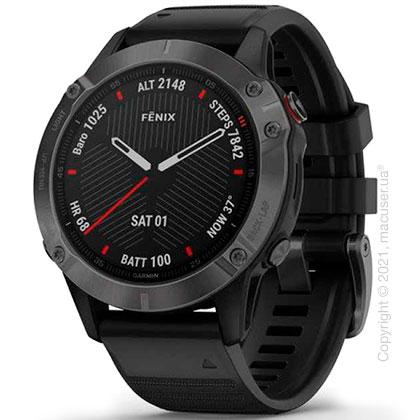 Спортивные часы Garmin Fenix 6 Carbon Gray DLC with Black Band