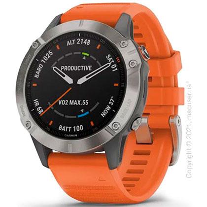 Спортивные часы Garmin Fenix 6 Titanium with Ember Orange Band