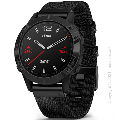 Спортивные часы Garmin Fenix 6 Black DLC with Heathered Black Nylon Band