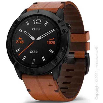 Спортивные часы Garmin Fenix 6X Black DLC with Chestnut Leather Band