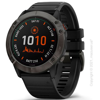 Спортивные часы Garmin Fenix 6X Pro Solar Titanium Carbon Gray DLC