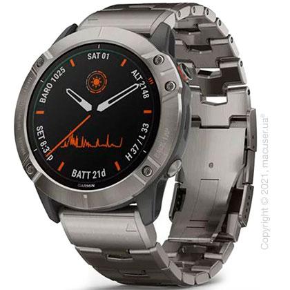 Спортивные часы Garmin Fenix 6X Pro Solar Titanium with Vented Titanium Bracelet