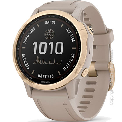 Спортивные часы Garmin Fenix 6S Pro Solar, Lt. Gold w/ Lt. Sand Band