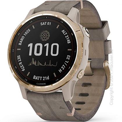 Спортивные часы Garmin Fenix 6S Pro Solar Lt. Gold with Shale Suede Band