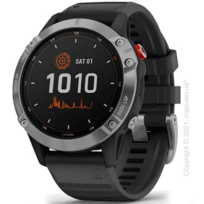 Спортивные часы Garmin Fenix 6 Solar Silver w/ Black Band