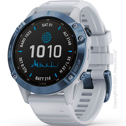 Спортивные часы Garmin Fenix 6 Pro Solar, Cobalt Blue w/ Whitestone Band