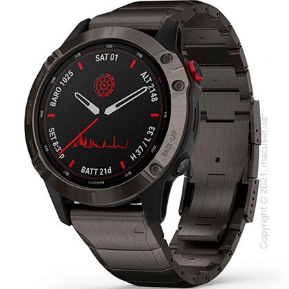 Спортивные часы Garmin Fenix 6 Pro Solar, Ti, Carbon Gray DLC w/ Ti DLC Band