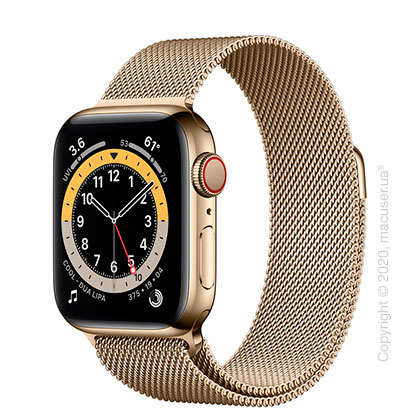 Apple Watch 6 40mm 4G Gold Stainless Steel Case with Gold Milanese Loop