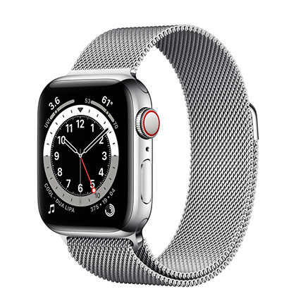 Apple Watch 6 40mm 4G Silver Stainless Steel Case with Silver Milanese Loop
