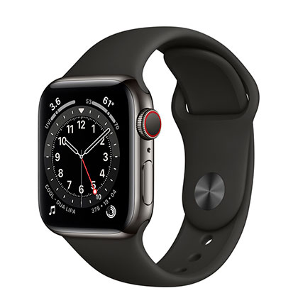 Apple Watch 6 40mm 4G Graphite Stainless Steel Case with Black Sport Band