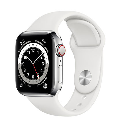 Apple Watch 6 40mm 4G Silver Stainless Steel Case with White Sport Band