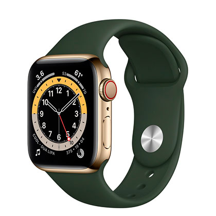 Apple Watch 6 40mm 4G Gold  Stainless Steel Case with Cyprus Green Sport Band