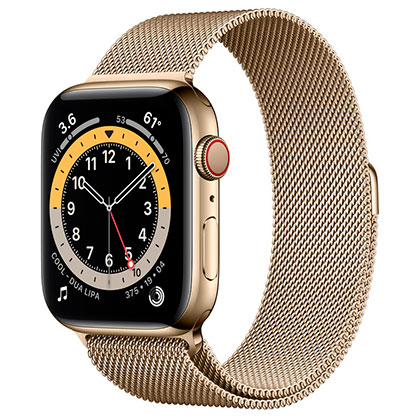 Apple Watch 6 44mm 4G Gold Stainless Steel Case with Gold Milanese Loop