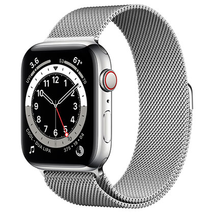 Apple Watch 6 44mm 4G Silver Stainless Steel Case with Silver Milanese Loop