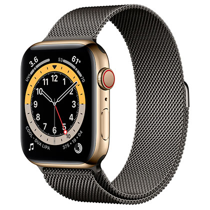 Apple Watch 6 44mm 4G Gold Stainless Steel Case with Graphite Milanese Loop