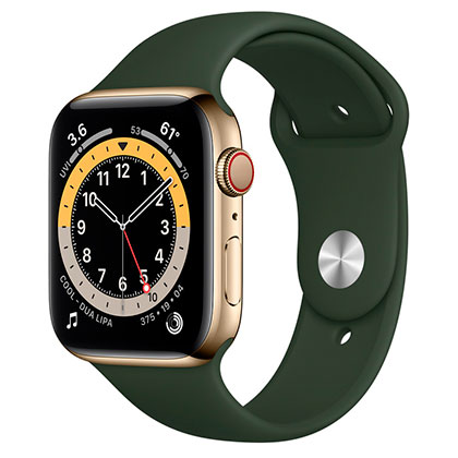 Apple Watch 6 44mm 4G Gold Stainless Steel Case with  Cyprus Green Sport Band