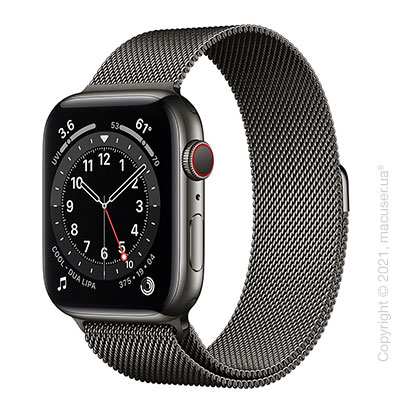 Apple Watch 6 44mm 4G Graphite Stainless Steel Case with Graphite Milanese Loop