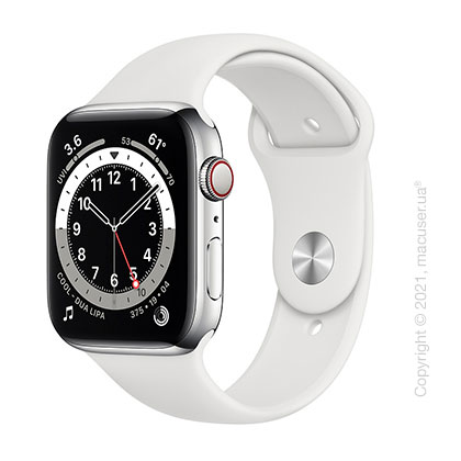 Apple Watch 6 44mm 4G Silver Stainless Steel Case with White Sport Band