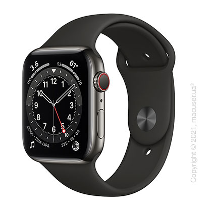 Apple Watch 6 44mm 4G Graphite Stainless Steel Case with Black Sport Band