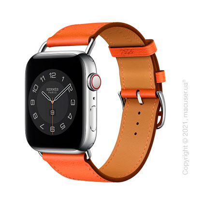 Apple Watch Hermes Series 6 LTE 40mm Silver Stainless Steel Case with Orange Swift Leather Single Tour