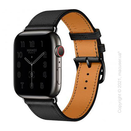 Apple Watch Hermes Series 6 LTE 44mm Space Black Stainless Steel Case with Noir Swift Leather Single Tour