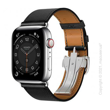 Apple Watch Hermes Series 6 LTE 44mm Silver Stainless Steel Case with Noir Swift Leather Single Tour Deployment Buckle